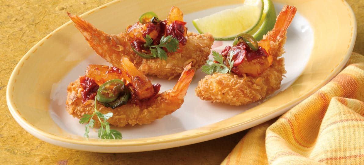 Coconut Shrimp Topped with Pineapple Jalapeno