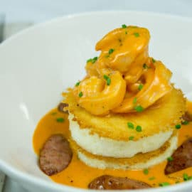Creamy Shrimp & Grits with Roasted Red Pepper Puree and Smoked Sausage