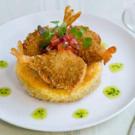 Cheese Stuffed Shrimp Grit Cake